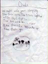 Olivia wrote this for me when I was away at a residency. Who knew owls would be such good friends?