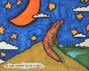 wolf on hill paint 9